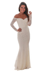 Crochet Branco Fora Do Ombro Maxi Evening Party Dress