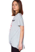 Grey American Bull Front Front Knot Graphic Top