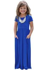 Koboltti Sininen Lyhythihainen Pocket Design Tyttöjen Maxi mekko