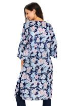 Σκούρο Μπλε Floral Side Slit Boho Kimono