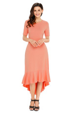 Coral Flowy Ruffles Kortärmad Casual Dress