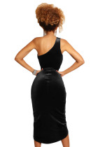 Black False-2-pc One Shoulder Velvet Dress