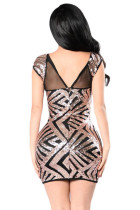 Gold Sequin Mesh Cutout Sexy Club Jurk