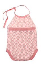 Merah Baru Lahir Bayi Tanpa Lengan Knit Scale Romper