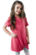 Rosy Twist Drape κοντό μανίκι T-shirt για τα κορίτσια