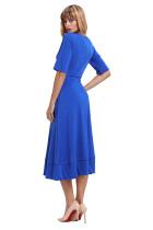 Blå Half Sleeve V Neck High Waist Flared Dress