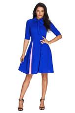 Ложное Slit Splice Royal Blue Bow Tie Vintage Dress