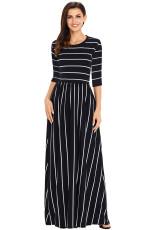 Черное белое полосатое повседневное карманное платье Maxi