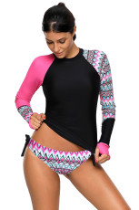 Contraste Rosy Detalhe Long Sleeve Tankini Swimsuit