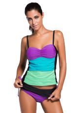 Фиолетовый набор цветных полос Bandeau Tankini Black Skort