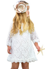 Valkoinen kukka tyttöjen pitsi mini mekko