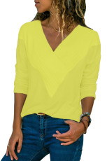Kuning Lengan Panjang V Neck Casual Top