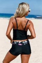 Цветочный дизайн Bandeau Tankini & Shorts 2pcs Купальник