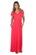 Červená růžová křišťálová kšiltovka s krátkým rukávem s krátkým rukávem