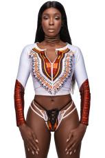 Valkoinen afrikkalainen printti vetoketjullinen Tankini ja Strappy Lace Up Swimsuit