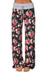 Σκούρο Floral Terry Wide παντελόνι πόδια