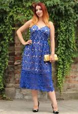 Royal Blue Lace Hollow Out Γυμνό Φόρεμα Κόμμα Illusion