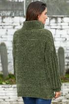 Armeijan vihreä pehmeä Velvet neuloa villapaita Jumper