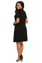 Černé měkké dresy Knit Cross Front Choker šaty