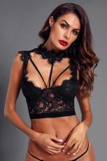 Black Lace Strappy Bustier Crop Top