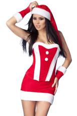 Комплект красного рождественского костюма из красного бархата