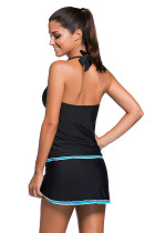 Kontras Blue Trim Black Halter Tankini Skort Swimsuit