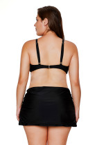 Black Bandeau Bikini 2pcs Купальник Skirtini