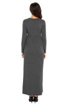 Charcoal dlouhý rukáv s vysokým pasem Maxi Jersey šaty