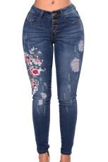 Blomsterbroderet Whisker Detail Skinny Jeans