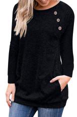 Üçlü Düğme Detaylı Siyah Heather Sweatshirt