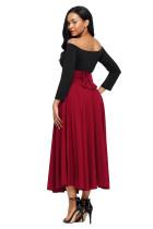 Merah Retro Tinggi Pinggang Lipit Belted Maxi Skirt