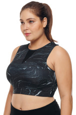 Musta Mesh Insert Korkea kaula plus koko urheilullinen rintaliivit