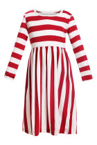Red White Striped Long Sleeve Dress for Kids