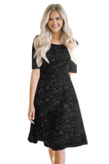 Black Lace Party Midi Dress