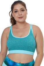 Blue Double Straps Heathered Sports Bra