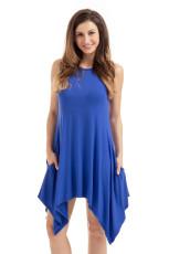 Královské modré drapé asymetrické hemline bez rukávů Jersey šaty
