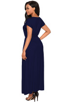 Navy Blue Crisscross V Neck Rochie Maxi Jersey Sleeve