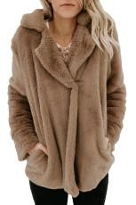 Brun Pocket Style Fluffy Winter Coat