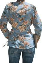 Blue Sage Daisy Floral Wrap Tie Vyötärö pitkähihainen pusero