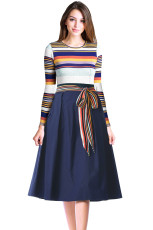 Navy Yellow Striped Poplin Sash Tie Midi Dress