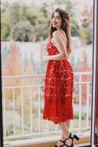 Βουργουνδίας Lace Hollow έξω γυμνό φόρεμα Illusion Party