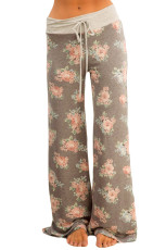 Taupe florale Terry Wide Leg Pantaloni