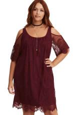 Burgund Plus Plus Lace Cold Shoulder Trapeze Dress