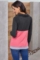 Camisola Sleeved do Thumbhole cor-de-rosa do Colorblock
