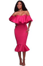Rosy Ruffle Off Shoulder Havfrue Midi Party Dress