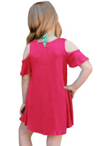Rosy Ruffle Cold Shoulder Dress per bambine