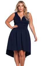 Navy Sleeveless V Neck Plus Ukuran Hi-lo Dress