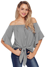 Grey Off The Knot Front Top