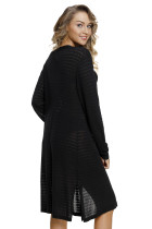 Black Lightweight Knit Long Open Cardigan