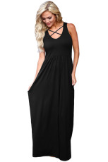 Negru Crisscross Neck Detaliu Sleeveless Maxi Dress